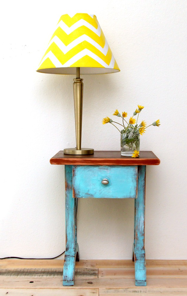 diy chevron lamp shade and side table make over