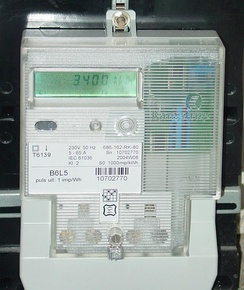 Solid state Danish made electricity meter used in a home in the Netherlands